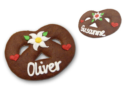 Lebkuchen Pretzel placement card, 10cm