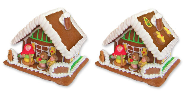 Decorated gingerbread house and undecorated gingerbread house size L for comparison