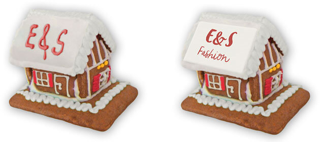 Logo or text on gingerbread house XS