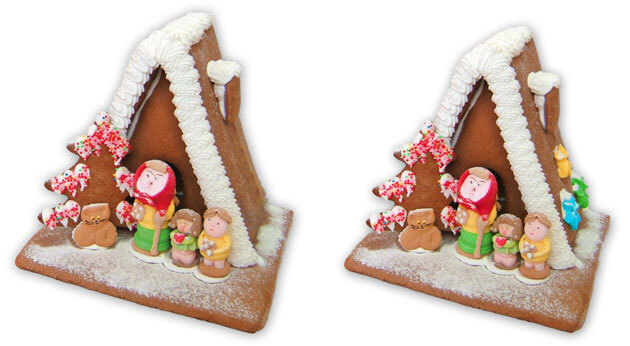 Big gingerbread witch house with and without decoration