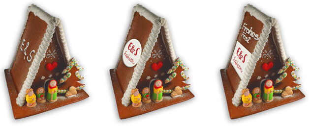 XL gingerbread house with individual advertisement