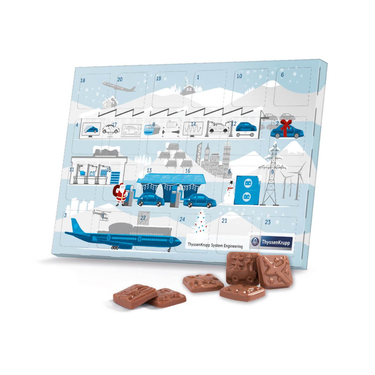 Schokoladen Weihnachtskalender.Adventskalender Schokolade Individuell Mit Firmenlogo