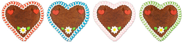 different colors for gingerbread hearts