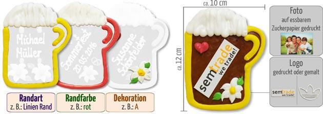 Lebkuchen-Bierkrug mit Logo