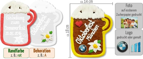So gestalten Sie Ihren individuellen Lebkuchen-Bierkrug 18 cm mit Logo