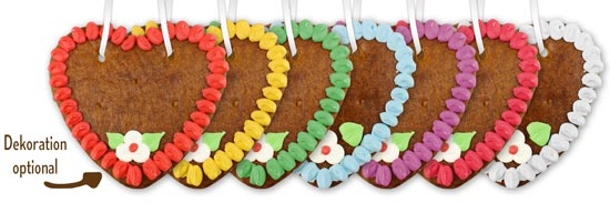 Gingerbread heart blank with edge 14cm - all colors - with and without decoration