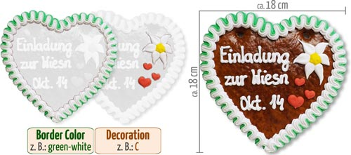 Individual Gingerbread Heart 18 cm