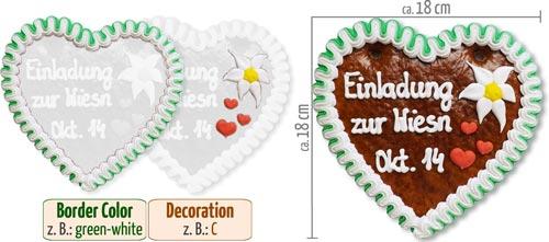 Individual Gingerbread Heart 18 cm