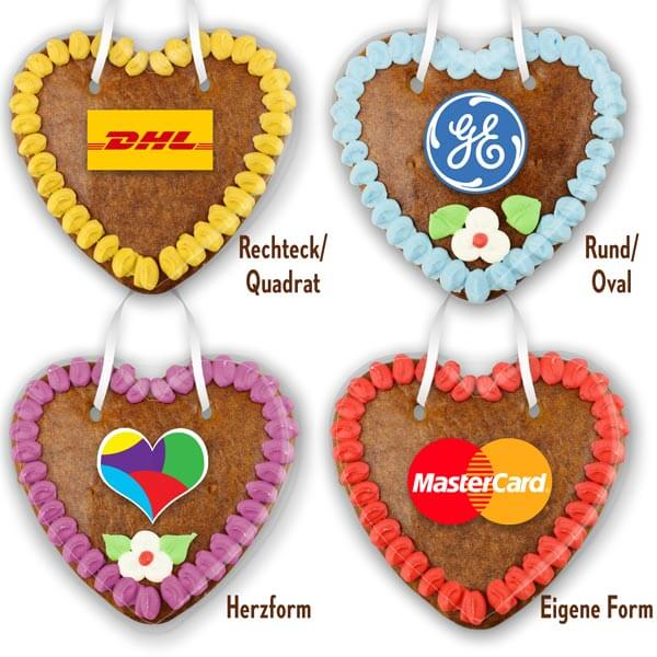 different gingerbread heart label shapes 14cm - Rectangular - Square - Round - Heart shape - Freeform - Custom shape