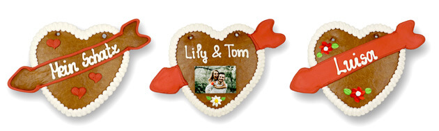 Gingerbread heart with arrow in different designs