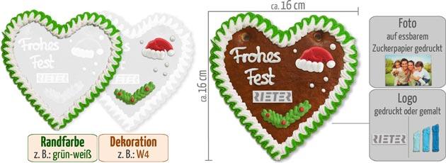 Weihnachten Lebkuchenherz 16cm