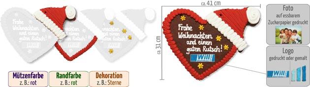 Infografik Lebkuchenherz Weihnachtsmütze 41cm