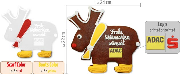 Gingerbread Moose 22cm Infographic
