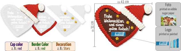 gingerbreadheart christmas cap 41cm infographic