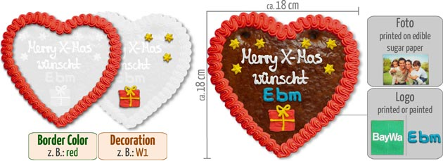 Gingerbread Heart X-Mas 18cm