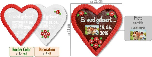 Gingerbread Heart with Photo 21cm