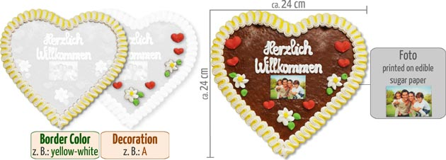 Gingerbread Heart with Photo 24cm