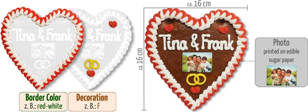 Gingerbread Heart with Photo 16cm