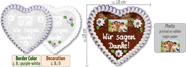 Gingerbread Heart with Photo 18cm
