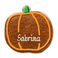 A pumpkin made of gingerbread decorated with sugar frosting