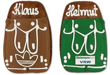 Lebkuchen-Lederhose mit Logo