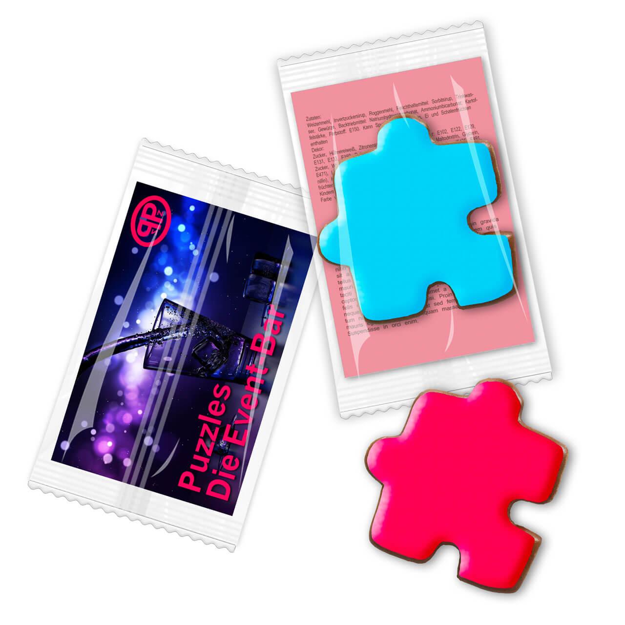 Puzzleteil farbig aus Lebkuchen mit Werbekarte