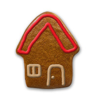 Gingerbread house colored with sugar frosting