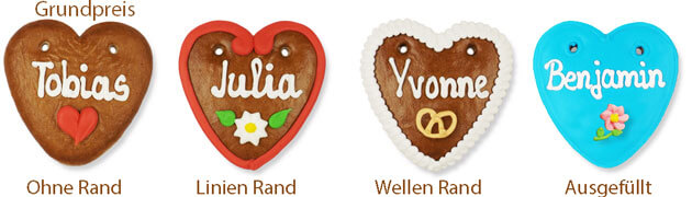 Gingerbread heart individually 10 cm