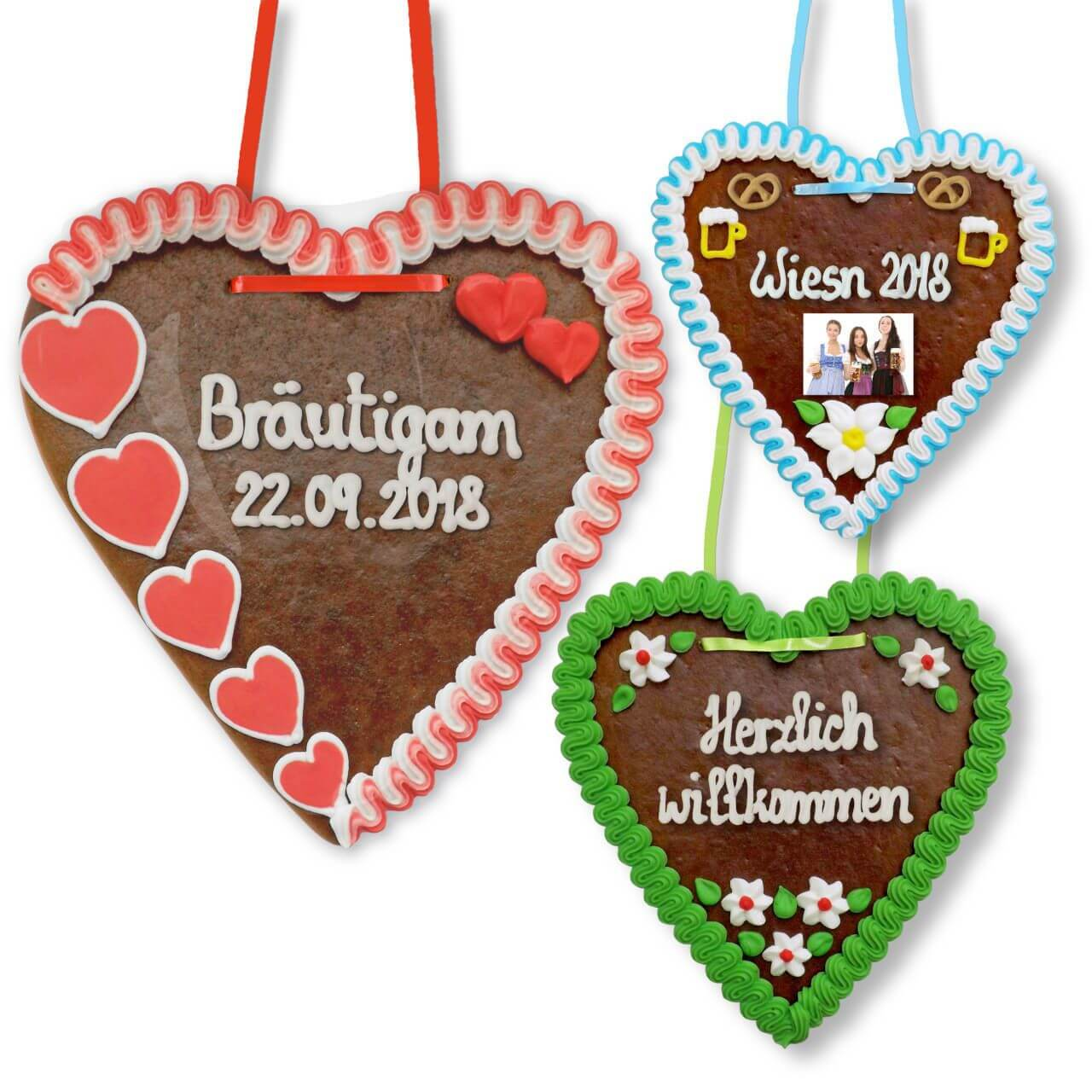 Gingerbread Heart custom made with text and picture, 21cm