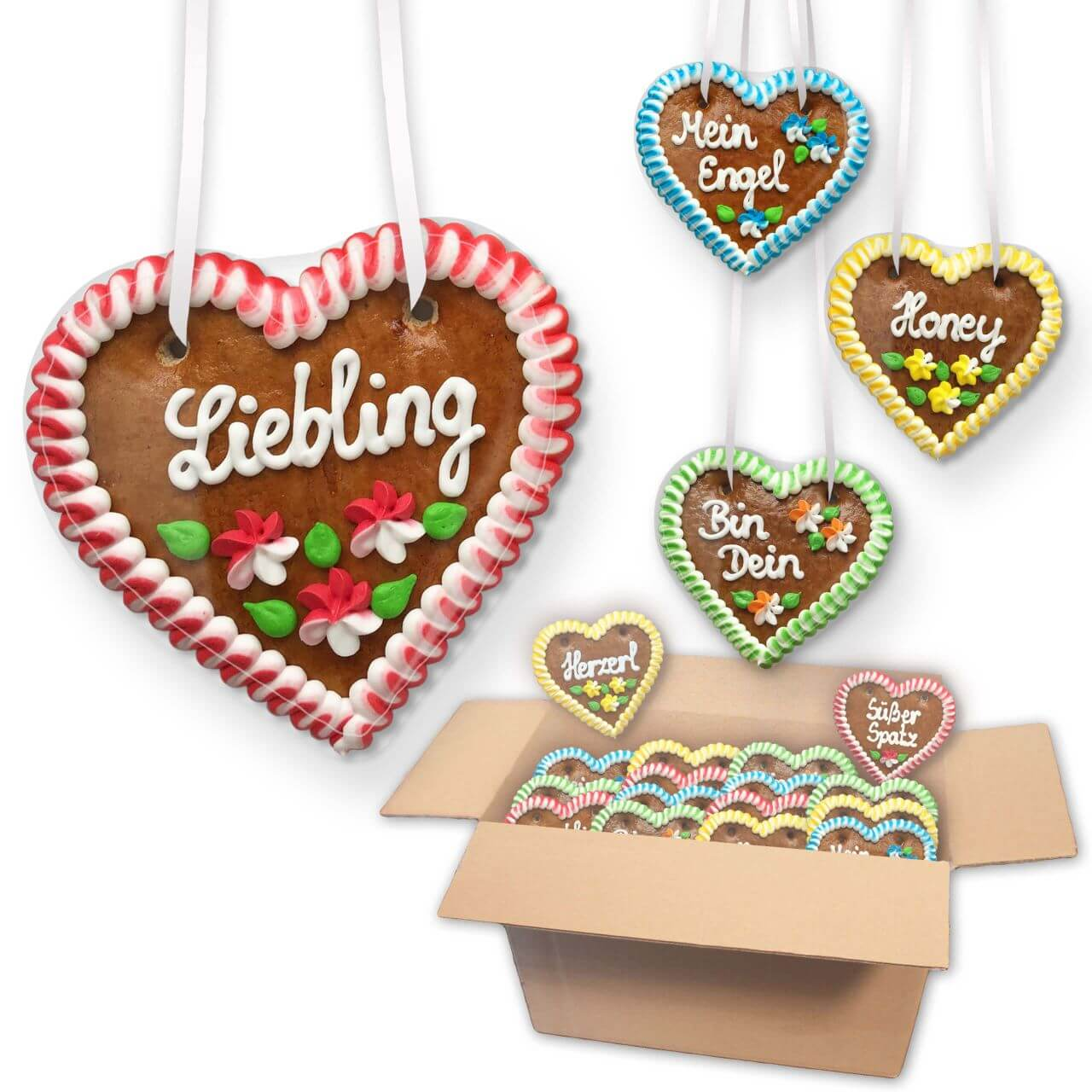 Gingerbread Heart Mixed Box - 12cm - various numbers of hearts