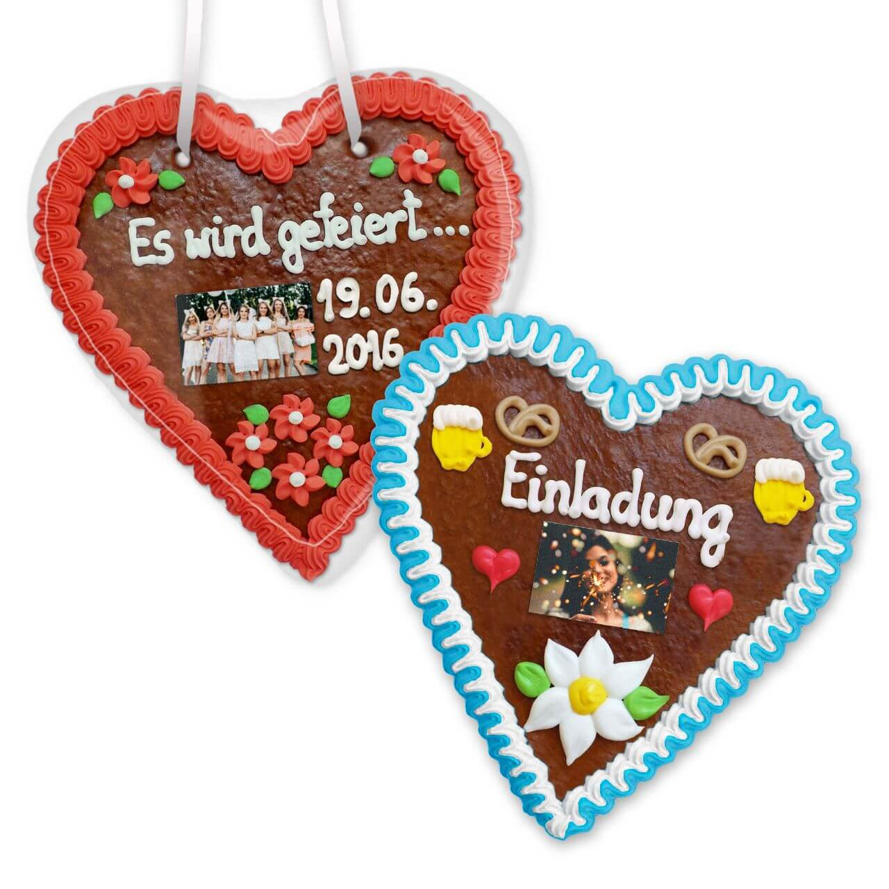 Gingerbread Heart custom made with phrase and Photo, 21cm