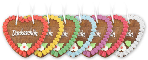Gingerbread heart 14cm with font sticker - All border colors