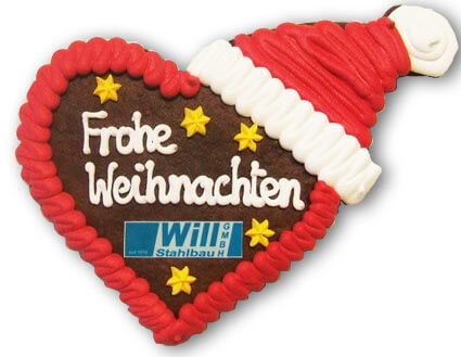 Lebkuchen Heart with Christmas Cap, customized
