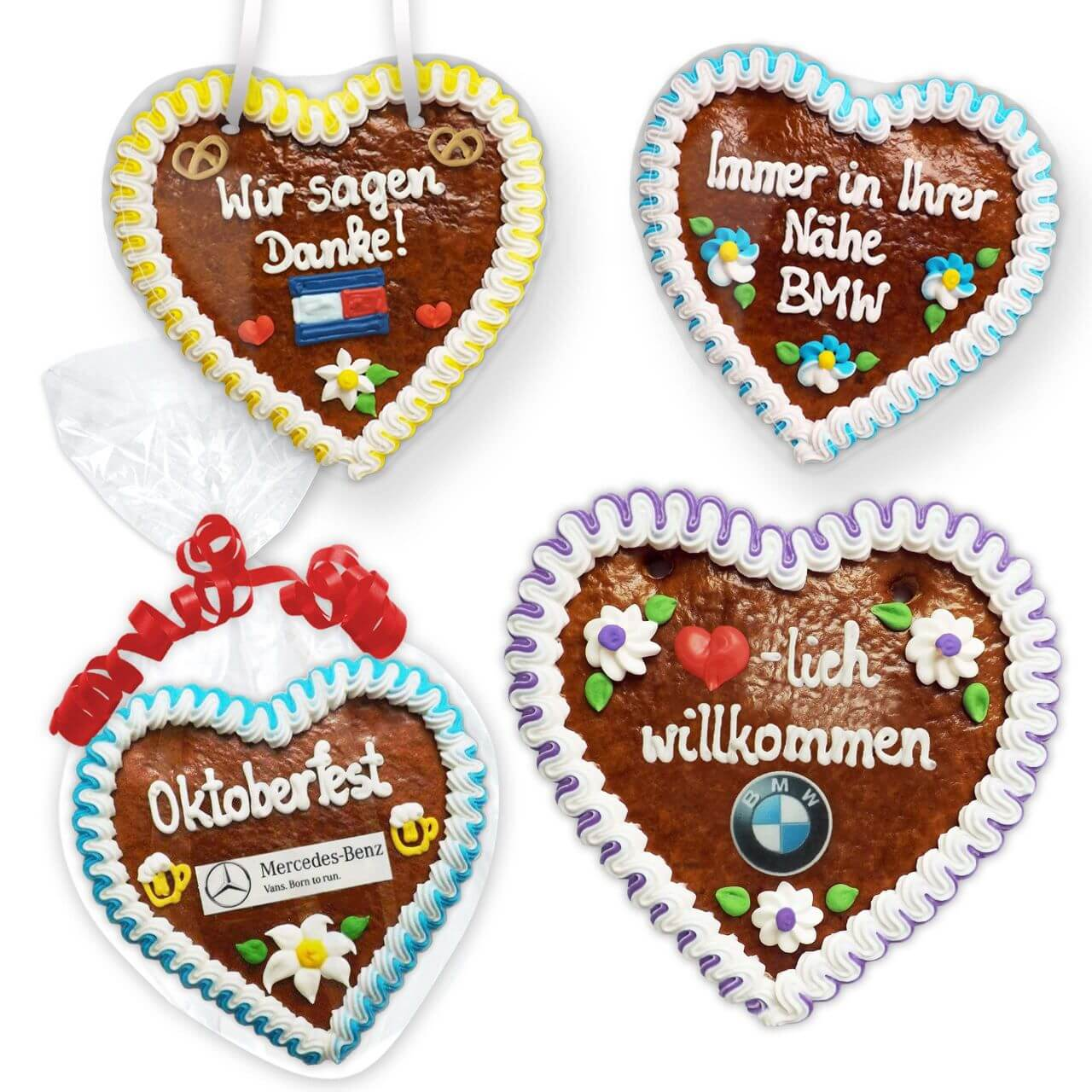 Gingerbread Hearts 18cm Optional With Logo