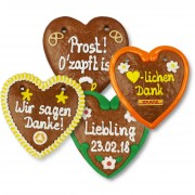 Gingerbread Hearts, 14cm - optional with Logo