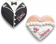 Tuxedo & Dress Gingerbread Heart - Placement Card