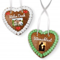 Individual gingerbread heart 14cm with photo and text of your choice