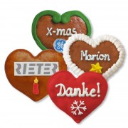 Christmas Gingerbread Heart individual, 8cm