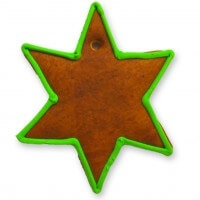 Gingerbread Christmas Star blank with border, green