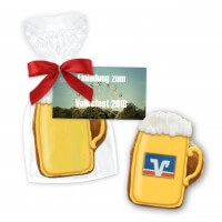 Mini gingerbread beer mug 7cm with advertising card, logo optional