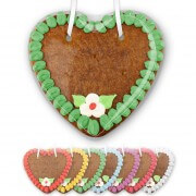 Decorated gingerbread heart blank to write on, 14cm