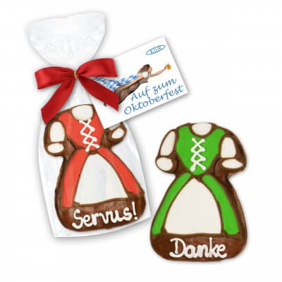 Dirndl gingerbread, 11cm - with ribbon and printed card