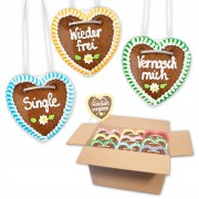 Gingerbread hearts mixed in a carton - 10cm - Flirt Sayings