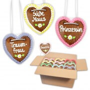 Gingerbread hearts mixed in a carton - 10cm - Sayings for Women