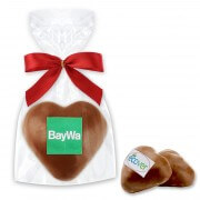 Filled gingerbread hearts glazes with milk chocolate glaze & logo