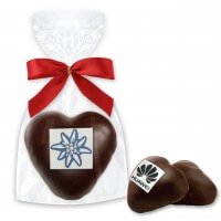 Filled gingerbread hearts with dark chocolate glaze, logo incl