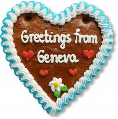 Greetings from Geneva - Gingerbread Heart 16cm