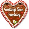 Greetings from Hamburg - Lebkuchenherz 16cm
