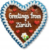 Greetings from Zürich - Gingerbread Heart 16cm