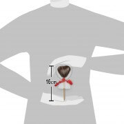 Size representation of the chocolate heart Lollipop